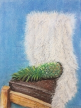 chair with throw and pineapple in chalk pastels